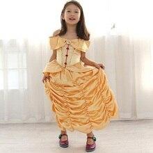 3-10yrs Niños Chica Bella y la bestia belle princesa vestido para la Navidad de Halloween cosplay carnival costume kids, fantasia infantil(China (Mainland))