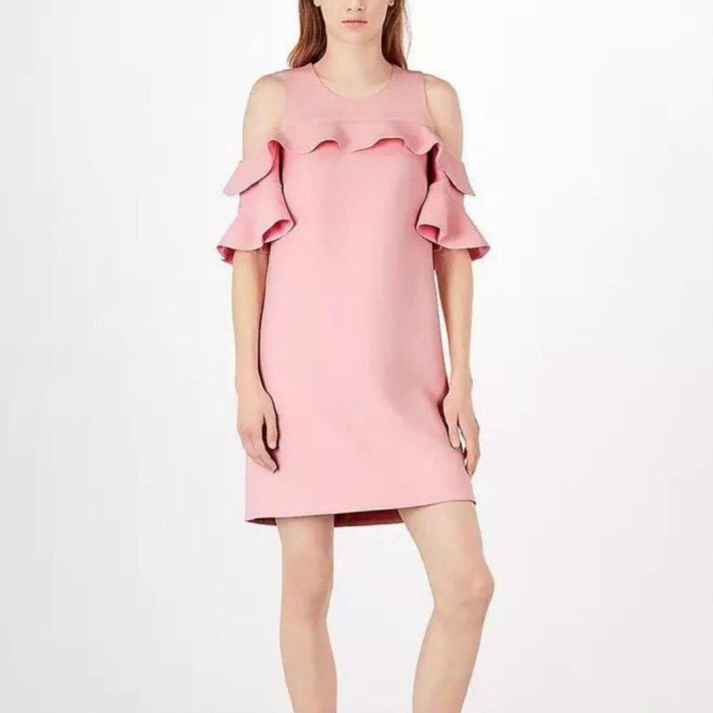 D'été Creux Solide Out Slim Lady Piste Designer Flare 2018 Femmes Épaule Volants Féminine Rose Mini Manches Office Robe CoerdxB