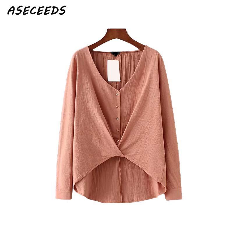 96c6003e93d0 Comprar Otoño Coreano Mujeres Elegante Cuello V Suelta Blusa Botones ...