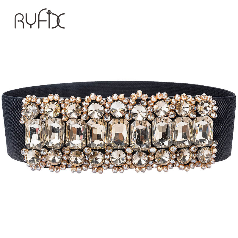 New Rhinestone   Belt   full crystal wide waistband decorated female body sculpting band designer wide elastic women   belts   BL236