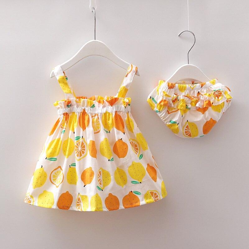 Newborn Baby Girl Clothes Dress Lemon Print Cotton Sleeveless Floral Party Skirt