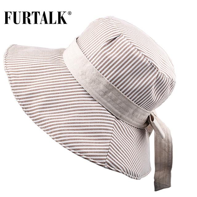 FURTALK Summer Sun Hats for Women Fashion Design Women Beach Cotton Hat Foldable Brimmed Bucket Hat for Fishing