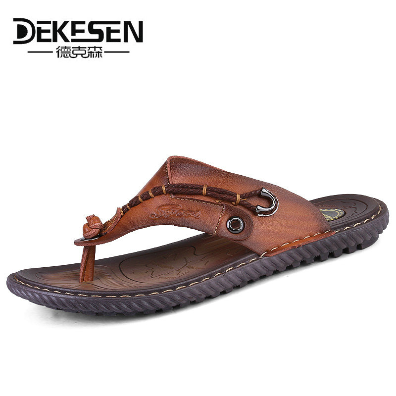 bf093317223a8 DEKESEN Luxury Brand 2018 New Men s Flip Flops Genuine Leather Slippers  Summer Fashion Beach Sandals Shoes For Men Casual shoes