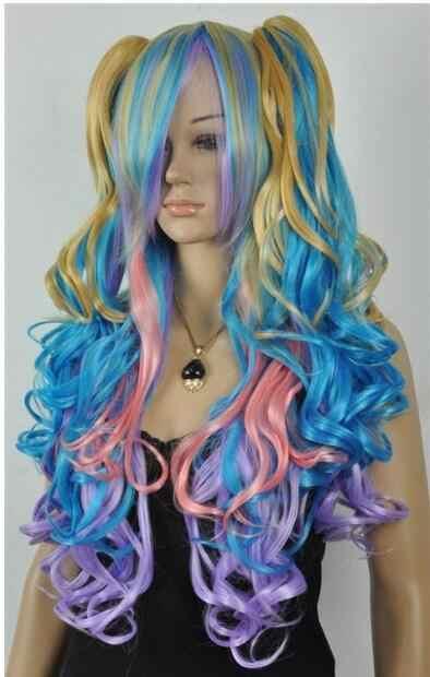 Парик Новый готический Лолита парик + 2 свиньи хвосты набор пастельная Радуга смешанный косплей Бесплатная доставка