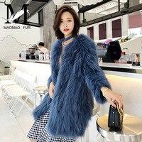Knitted Real Raccoon Fur Coat Furry Women Warm Long Sleeve Female Outerwear Autumn Winter Long Fur Coat Jacket