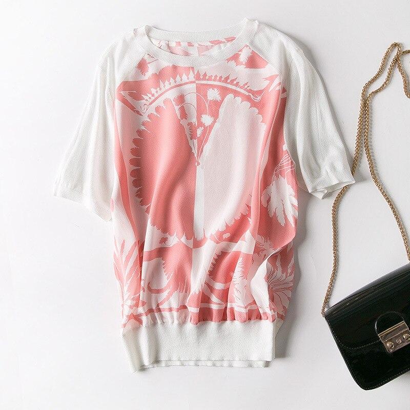Neue frauen s kleidung in Europa und die kokospalmen druck qualität von gestrickte seide kurzarm T hemd-in T-Shirts aus Damenbekleidung bei  Gruppe 2