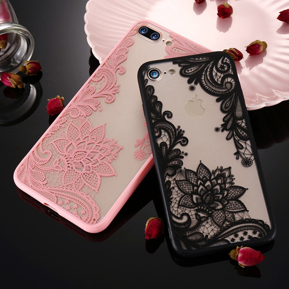 Galleria fotografica KISSCASE Sexy 3D Lace Flower Patterned Case For iPhone 5s 5 SE Soft Clear Silicone Cover Cases For iPhone 6 6s 7 8 Plus Capinhas