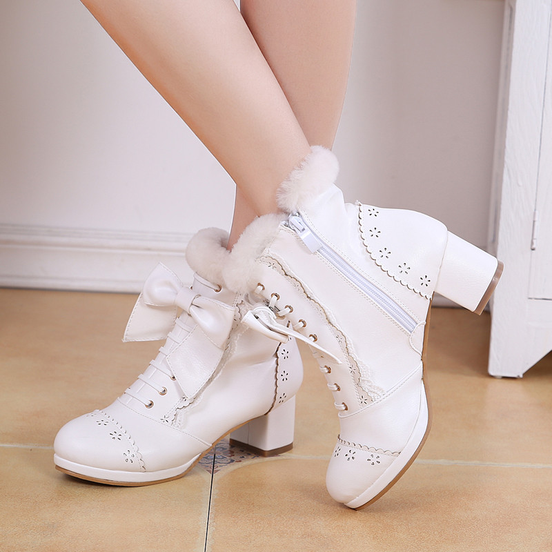 Sweet Japanese Beauty Women Ankle Boots Winter New Lace Bow Snow Boots For Women Lace Up Platform Thick High Heels Lolita shoes (12)