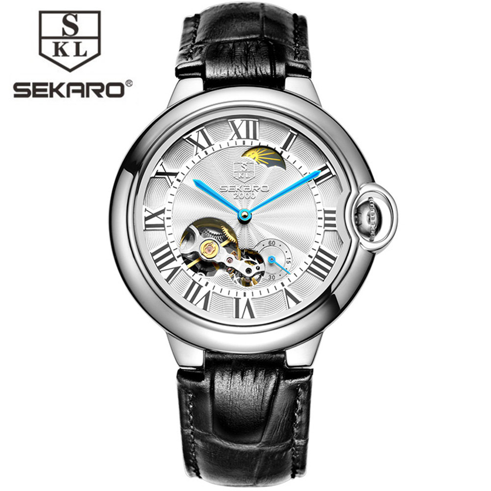 Relogio Masculino SEKARO Tourbillon Mens Watches Top Brand Luxury Gold Men Watch Automatic Mechanical Leather Wristwatches forsining automatic tourbillon men watch roman numerals with diamonds mechanical watches relogio automatico masculino mens clock