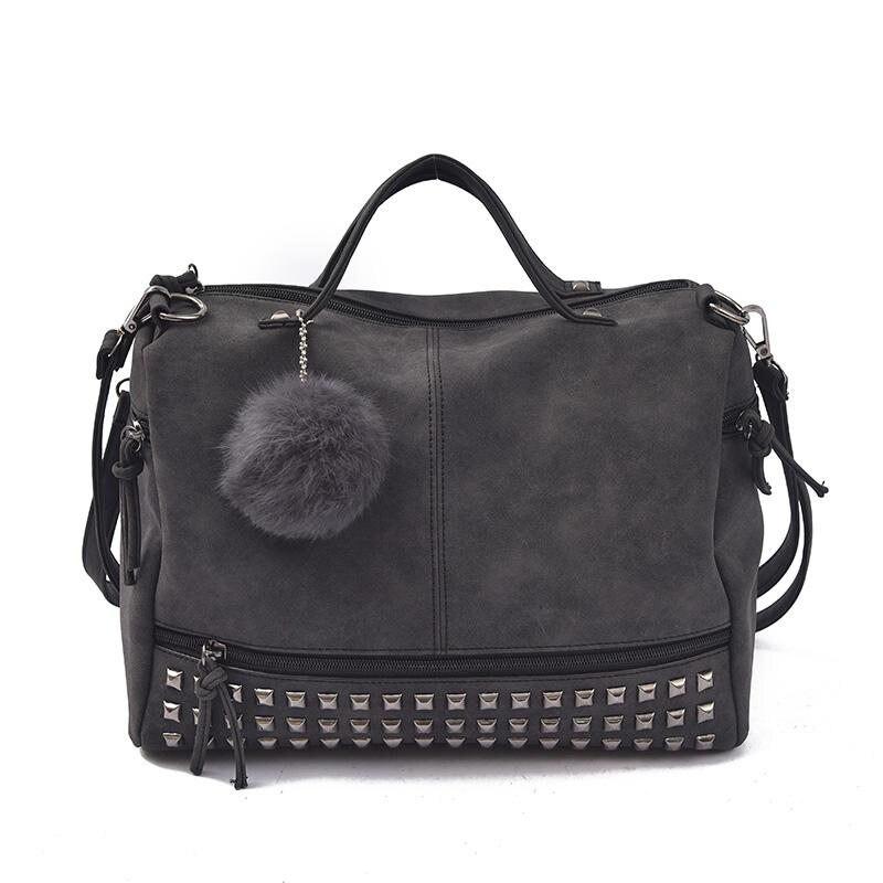 Borse Pelle Vintage : Vintage nubuck leather top handle bags rivet larger women