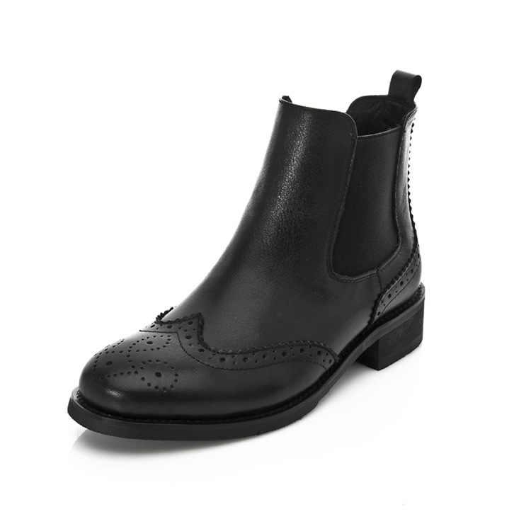 Kadınlar Hakiki Deri Toka Ayak Bileği Çizmeler Yavru Topuk Oxford Çizmeler Yan Fermuar Rahat Ayakkabılar