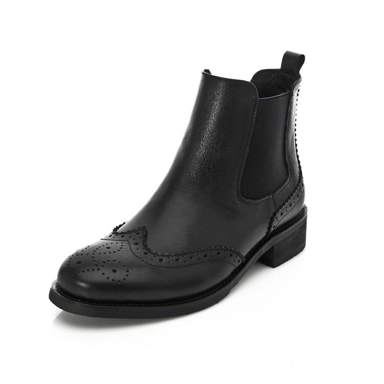 Women <b>Genuine Leather</b> Buckle Ankle Boots Kitten Heel Oxford ...