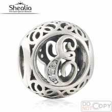 Vintage Encantos Alfabeto E Calado 925-Sterling-Silver Zirconia Letra E Perlas Para Las Mujeres Pulsera de La Joyería Que Hace DIY 2016 de Verano