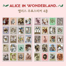 4 Pcs / Pack Diy Vintage Retro Paper Stickers Alice Stamp Sticker For Diary Scrapbooking # (7321)(China)