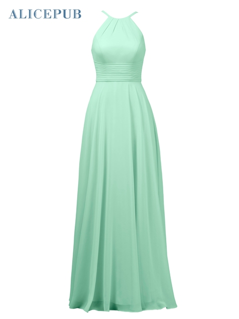 e2a9579ccca Alicepub Halter Bridesmaid Dresses Long Chiffon Wedding Party Dress A-line  Gown Coral Pink Purple Free Shipping