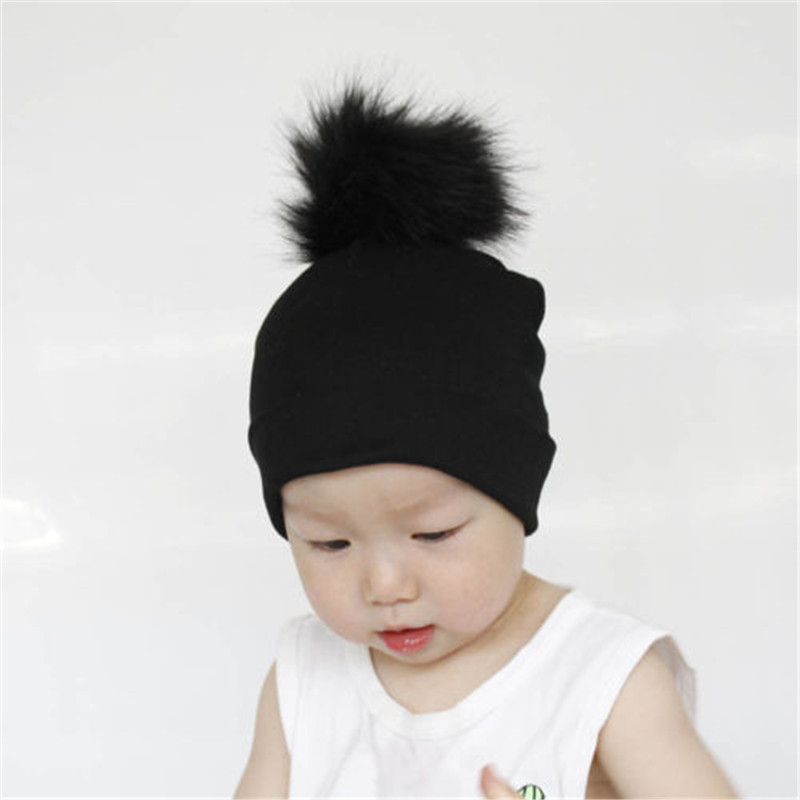 Cute Toddler Girl Boy Kids Baby Infant Winter Warm Fur Pom Knit Hat Beanie Cap