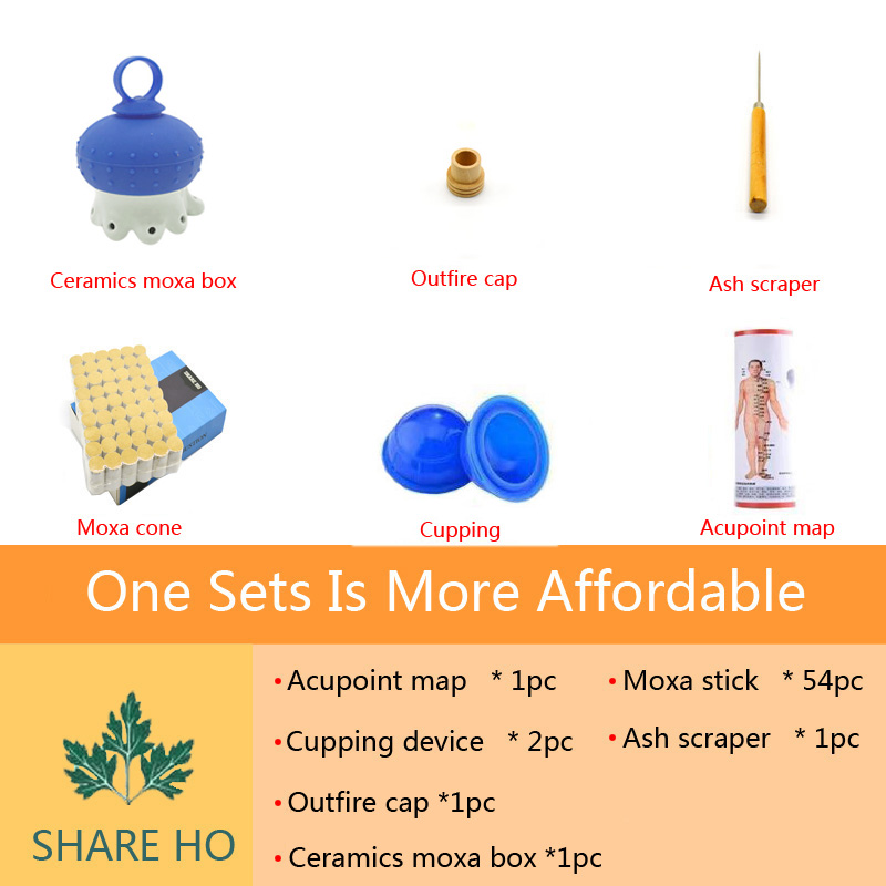 SHARE HO Ceramics Moxibustion Box Head Heating Therapy Acupuncture Point Chinese Moxa Sticks Burner Migraine Headaches treatment in Massage Relaxation from Beauty Health