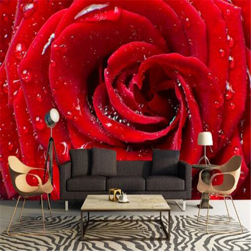 Classic Wallpaper 3D Stereoscopic Red Rose Photo Wall Mural Water Drops Fashion Wallpaper Wall Papers for Living Room Home Decor custom baby wallpaper snow white and the seven dwarfs bedroom for the children s room mural backdrop stereoscopic 3d