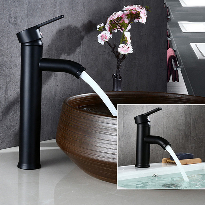 Бесплатная доставка Biggers черный цвет нержавеющая сталь смеситель для ванной комнаты с одной ручкой Смеситель для холодной и горячей воды