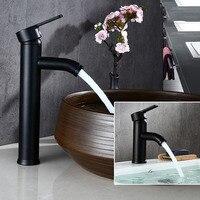 Бесплатная доставка biggers черный Цвет Нержавеющаясталь Ванная комната бассейна кран с одной ручкой холодной и горячей воды