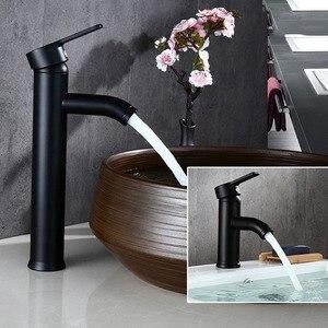 Image 1 - Смеситель для ванной Biggers, черный смеситель для раковины из нержавеющей стали с одной ручкой, смеситель для холодной и горячей воды, бесплатная доставка