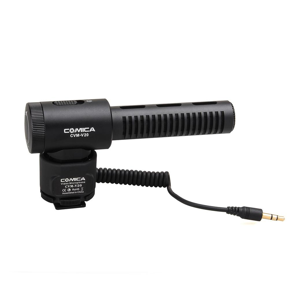 COMICA CVM-V20 Full Metal on-camera Cardioid Directional Shotgun Video Microphone Interview Microphone with Shock-Mount for DSLR digitalfoto comica cvm d03 dual head lavalier removeable smartphone dslr camera microphone mic recorder for interview meeting