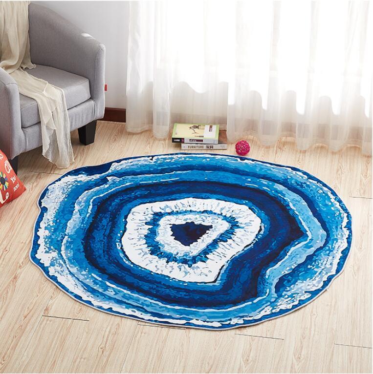 Круглый ковер в скандинавском стиле с деревянным зерном, индивидуальный креативный журнальный столик для спальни, компьютерное кресло, нескользящий коврик, домашний декор - Цвет: Sky blue