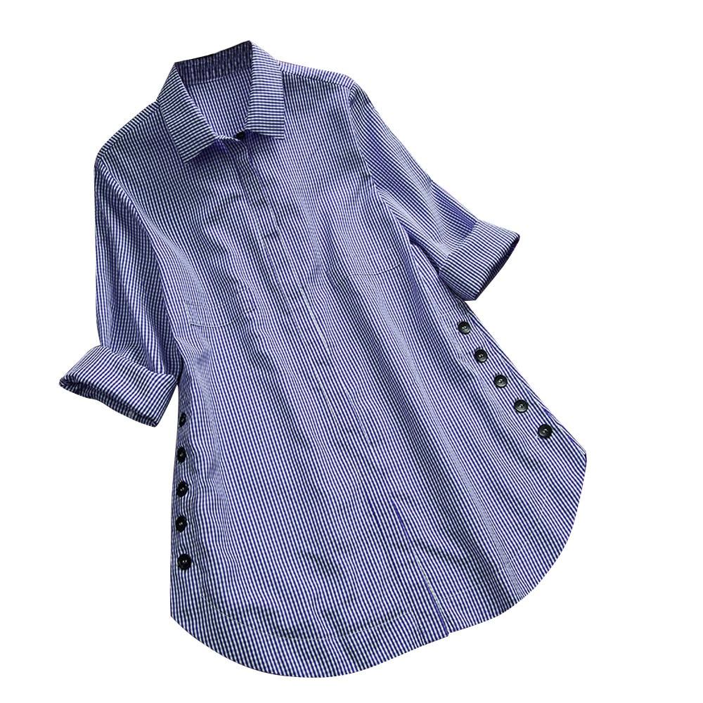 Biquini Feitong women blouse and tops Women's Long Sleeve Lattice Button Casual Tops Shirt Loose Plus Size 3XL 4XL 5XL