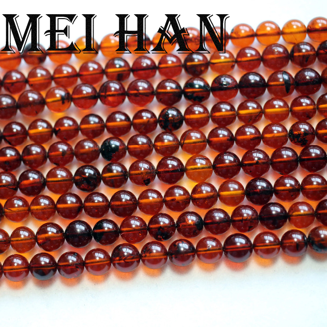Meihan Free shipping 6 6 5mm 60 beads strand natural The Baltic sea Amberr round loose