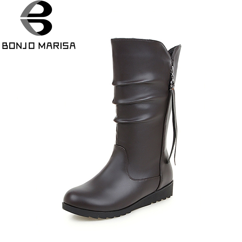 BONJOMARISA 2018 winter fashion pleated mature mid-Calf boots hot sale Slip-On Ol hot sale platform women shoes large size 33-43 new hot sale shoes women snow boots flat shoes fashion matte slip on mid calf autumn winter boots female height increasing shoes
