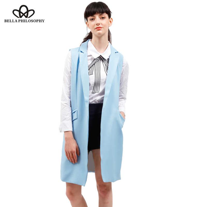 Bella Philosophy женский жилет осенняя куртка брендовый жилет карманы Открытый стежок без рукавов Синий Розовый Бежевый Блейзер colete feminino