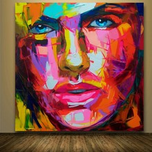 Palette knife painting Abstract Portrait Face Oil Impasto figure canvas handpainted Francoise Nielly Wall Art Pictures