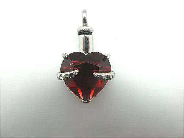 Solid Crystal Heart Urn Pendant