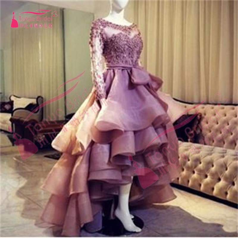 Sheer Long Sleeves Lace Appliques Prom Dresses Tired High Low Scoop Zipper Back Organza Evening Dress DQG175
