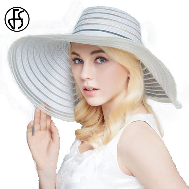FS Pink Blue Fashion Female Large Brim Floppy Straw Hat For Womens Summer  Beach Sun Hats For Women With Big Heads b2962bf0809