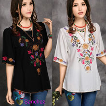 1ea51ab2799 2019 Hot Sale Vintage Ethnic Floral Embroidery Tunic Boho Mexican Peasant  Tunic Hippie Tops Gypsy Loose