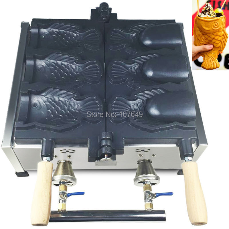 3pcs Fish Commercial Use Non-stick LPG Gas Ice Cream Taiyaki Maker Iron Machine Baker commercial non stick 110v 220v electric ice cream fish waffle taiyaki iron maker baker machine