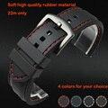 Часы полоса 22 мм черный силиконовой резины водонепроницаемый водолазы ремешок группы красной нитью размер бесплатная доставка