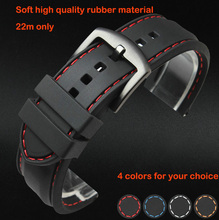 Watch band 22mm Black Silicon Rubber Waterproof Divers Watch Strap Band Red Thread Size Free Shipping
