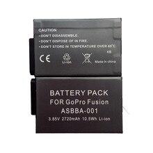 2×2720 мАч Камера Замена Перезаряжаемые Батарея ASBBA-001 для Gopro Fusion 360 градусов Камера литий-ионный Батарея + двойной зарядное устройство