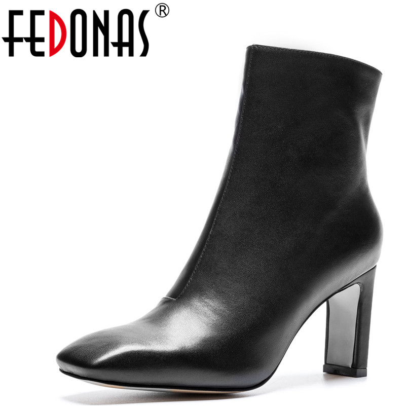 FEDONAS 1New Arrival Women Ankle Boots Autumn Winter Warm Genuine Leather High Heels Shoes Woman Square Toe Concise Basic Boots 2018 new arrival genuine leather zipper runway autumn winter boots round toe high heels keep warm elegant women ankle boots l29