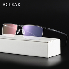 BCLEARR אופטי עסקים טיטניום משקפיים מסגרת לגברים משקפי חצי ללא שפה משקפיים עם אביב צירים 5 אופציונלי צבעים חם