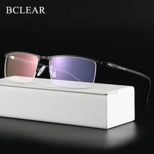 Bclearr negócio óptico óculos de titânio quadro para óculos de homem semi sem aro óculos com dobradiças de mola 5 cores opcionais quente