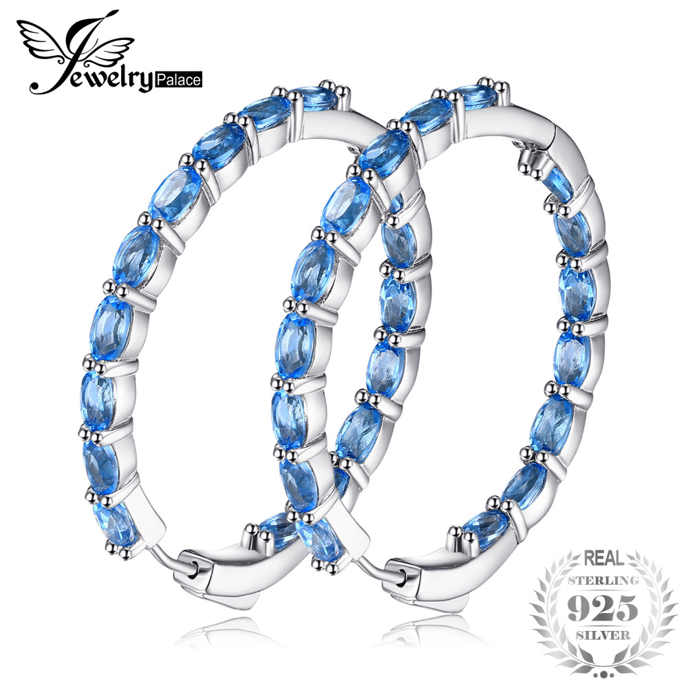JewelryPalace Huge 13.5ct Natural Sky Blue Topaz Hoop Earrings Genuine 925 Sterling Silver 216 New Fine Jewelry For Women