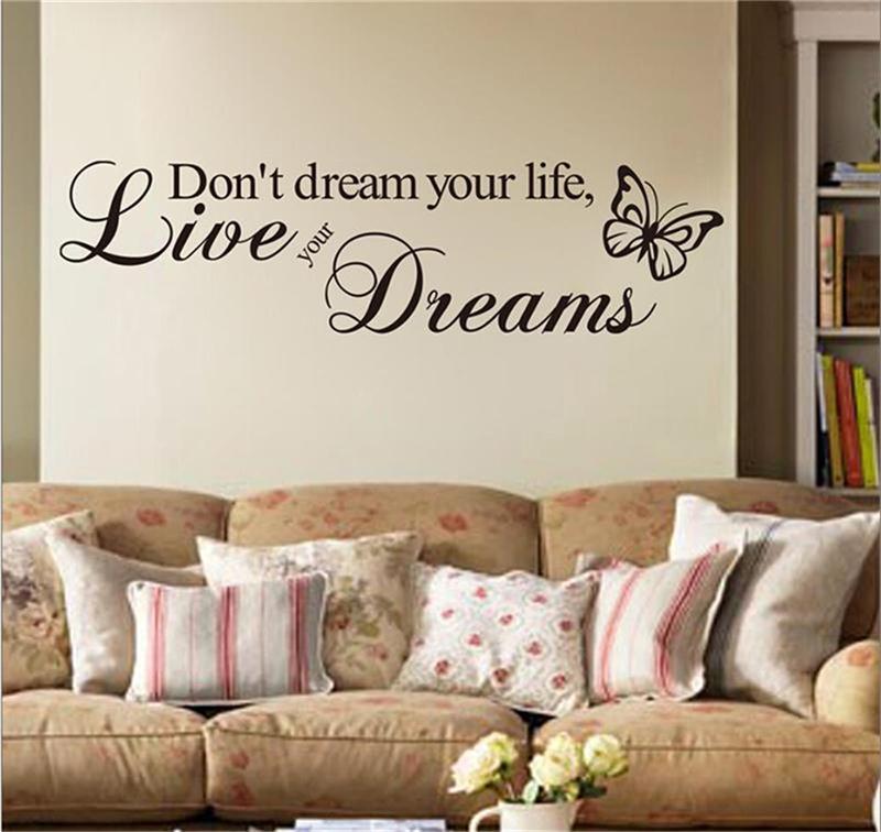 Nicht Traum Ihr Leben Englisch Inspirational Zitate Home Decor Studie Wohnzimmer Schlafzimmer Wand Aufkleber Adesivo
