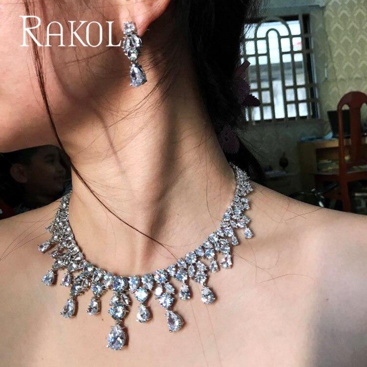 RAKOL Classic Dazzling Water Drop Cubic Zirconia Jewelry Set for Women Luxury Bridal Wedding Dinner Dress