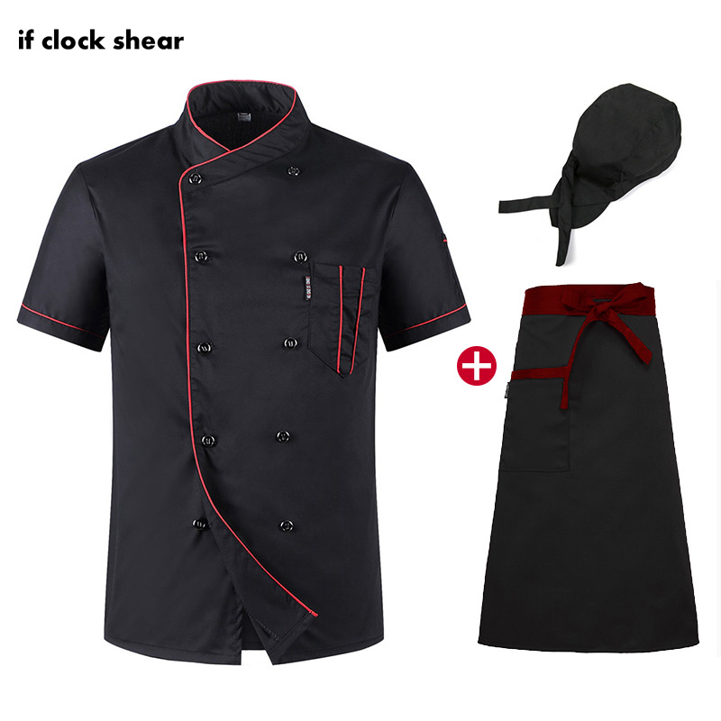 Short Sleeve Chef Kitchen Clothes Restaurant Hotel Workwear Unisex Chef Uniform Breathable Thin Jacket + Hat + Apron Black Shirt