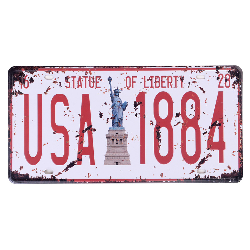 Retro license plate car number  USA 1884  vintage metal tin signs garage painting plaque Sticker 15*30CM
