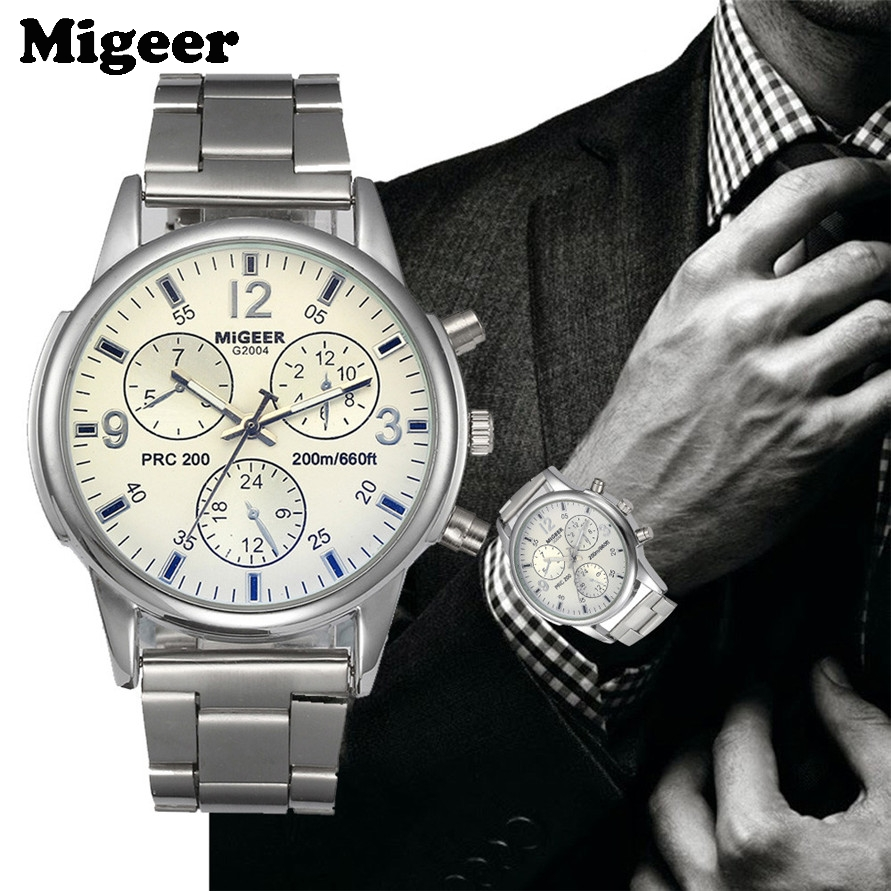 Migeer Mens Silver Stainless Steel Band Big Dial Analog Business Sports Wrist Watch 170525