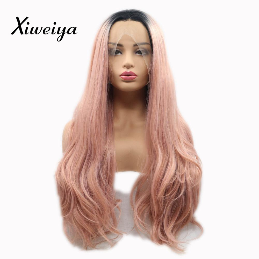 Xiweiya Synthetic lace front wig dark root Rose Gold Peach Red Pink White Women Drag Que ...